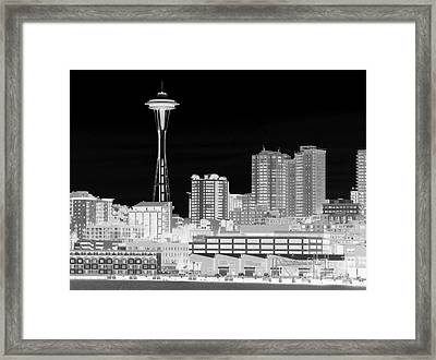 Seattle Cityscape - Bw Negative Framed Print by Connie Fox