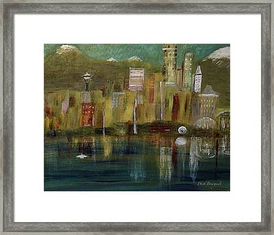 Seattle Cityscape Framed Print by Dick Bourgault