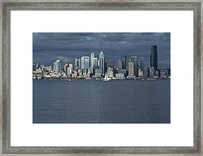 Seattle Cityscape From Alki Beach Framed Print