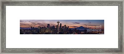 Seattle Cityscape Morning Light Framed Print by Mike Reid