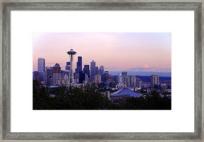 Seattle Dawning Framed Print by Chad Dutson
