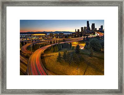 Framed Print featuring the photograph Seattle Downtown Highway Traffic Light Trails by JPLDesigns