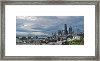 Framed Print featuring the photograph Seattle Downtown Skyline And Freeway Panorama by JPLDesigns
