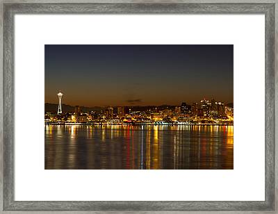 Framed Print featuring the photograph Seattle Downtown Skyline Reflection At Dawn by JPLDesigns
