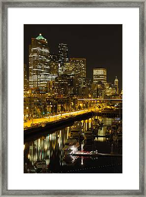 Framed Print featuring the photograph Seattle Downtown Waterfront Skyline At Night by JPLDesigns