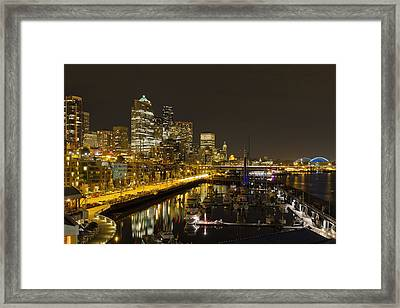 Framed Print featuring the photograph Seattle Downtown Waterfront Skyline At Night Reflection by JPLDesigns