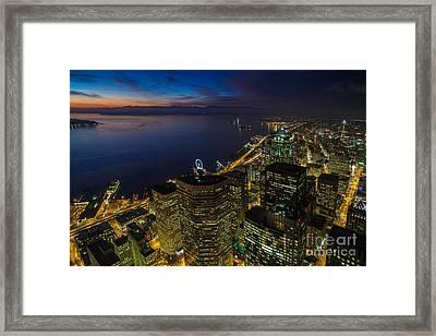 Seattle Dusk Colors Framed Print