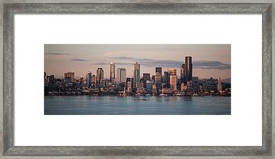 Seattle Dusk Skyline Framed Print by Mike Reid