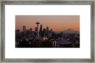 Seattle Evening Mood Framed Print by Mike Reid