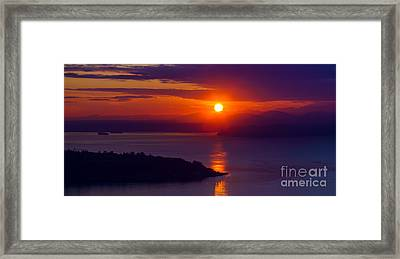 Seattle Fiery Sunset Framed Print by Mike Reid