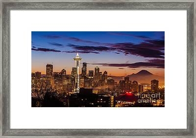 Seattle Fog Sunrise Framed Print
