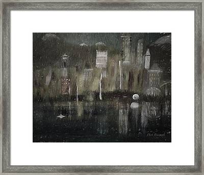 Seattle In The Rain Cityscape Framed Print by Dick Bourgault