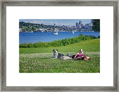 Seattle - Lake Union - Gas Works Park Framed Print by Nikolyn McDonald
