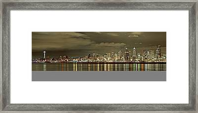 Seattle Lights At Night From Alki Framed Print
