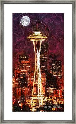 Seattle Framed Print by Mo T