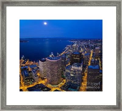 Seattle Moonset Night Framed Print