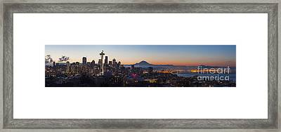 Seattle Morning Glow Framed Print by Mike Reid