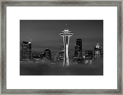 Seattle Morning Mist Black And White Framed Print by Benjamin Yeager