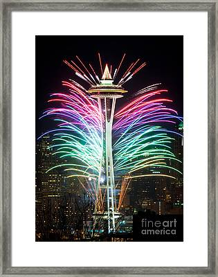 Seattle New Year Framed Print