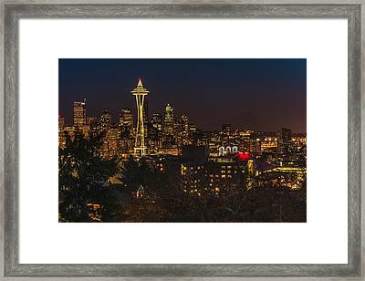 Seattle Night Lights Framed Print