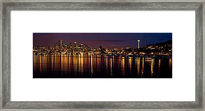 Seattle Night Reflections Framed Print