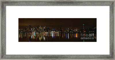 Seattle Panorama Framed Print by Eddie Yerkish