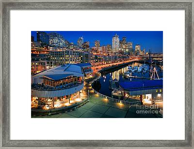 Seattle Piers At Night Framed Print by Inge Johnsson