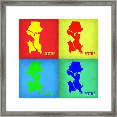 Seattle Pop Art Map 1 Framed Print by Naxart Studio