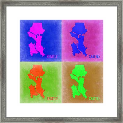 Seattle Pop Art Map 2 Framed Print by Naxart Studio