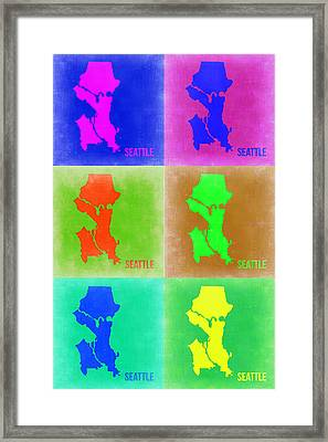 Seattle Pop Art Map 3 Framed Print by Naxart Studio