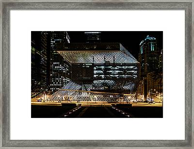 Seattle Public Library At Night Framed Print by Brian Xavier