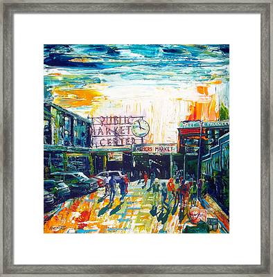Seattle Public Market Center Framed Print by Suzanne King