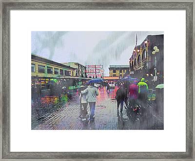Seattle Public Market In Rain Framed Print by John Fish