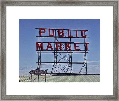 Seattle Public Market Framed Print by Ron Roberts