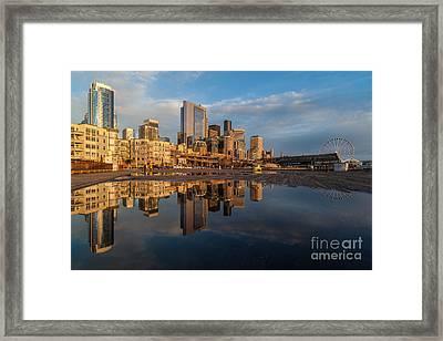 Seattle Reflection Golden Light Framed Print