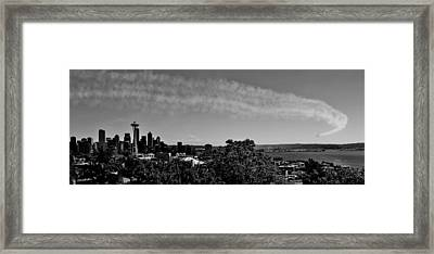 Seattle Seafair Panorama Black And White Framed Print by Benjamin Yeager