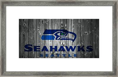 Seattle Seahawks Barn Door Framed Print by Dan Sproul