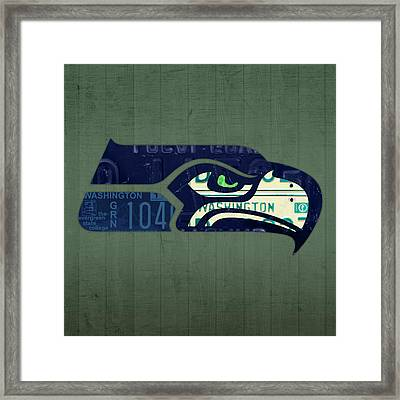Seattle Seahawks Football Team Retro Logo Washington State License Plate Art Framed Print by Design Turnpike