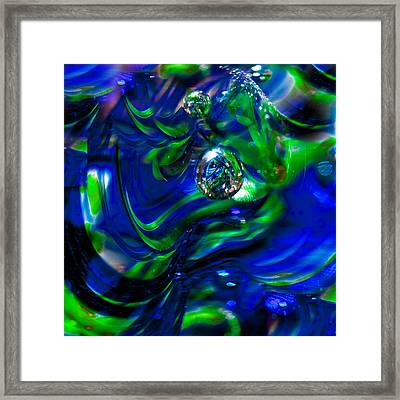 Seattle Seahawks Glass Macro Abstract Framed Print by David Patterson