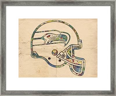 Seattle Seahawks Helmet Art Framed Print