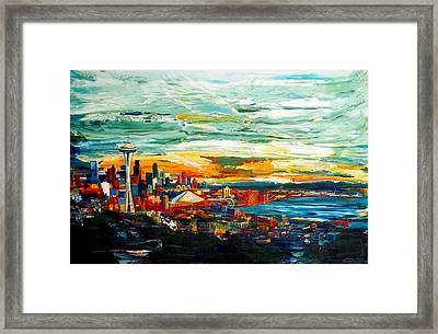 Seattle Sky Framed Print by Suzanne King