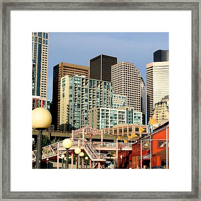 Seattle Skyline. Framed Print by Art Block Collections