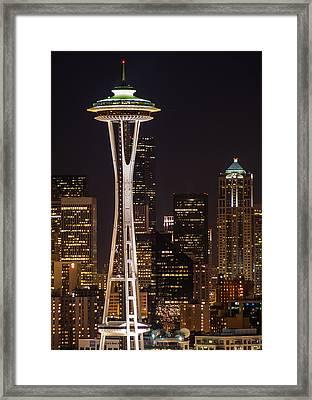 Seattle Skyline At Night - City Skyline Night Photograph Framed Print by Duane Miller
