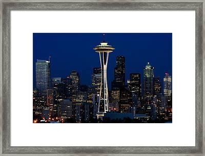 Seattle Skyline At Night Framed Print by Jetson Nguyen