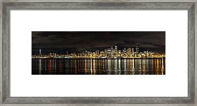 Seattle Skyline At Night Framed Print by Tanya Harrison