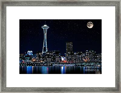 Seattle Skyline At Night With Full Moon Framed Print