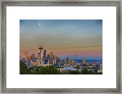Seattle Skyline At Sunset Hdr Framed Print