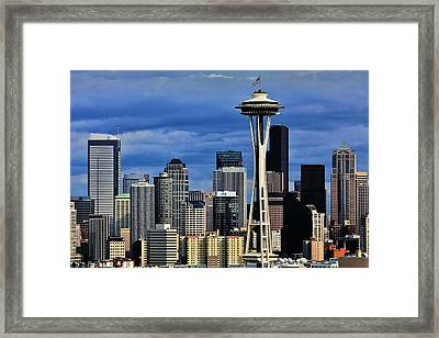 Seattle Skyline Framed Print by Benjamin Yeager