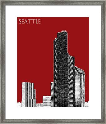 Seattle Skyline Columbia Tower - Dark Red Framed Print