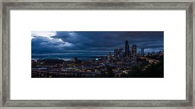Seattle Skyline Drama Panorama Framed Print